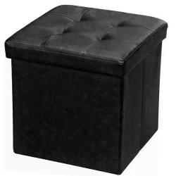 Baúl Puff Plegable En Eco Cuero Negro Muebles Web