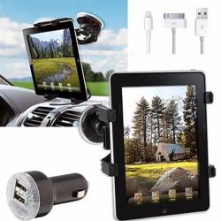 Combo Auto X3 Soporte Ipad 2 3 4 Air Mini + Cargador + Cable