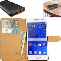 Estuche Funda Premium Samsung Core 2 Cuero Tarjetero + Film