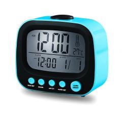 Reloj Despertador Coby Cbc-52 Azul Lcd Calendario Cronómetro