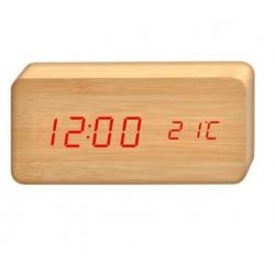 Daza Reloj Despertador Simil Madera Digital C/ Temperatura