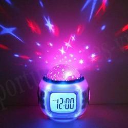 Reloj Despertador Proyector Estrellas Con Musica Y Alarma