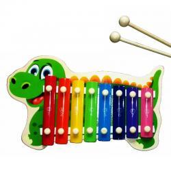 Xilofon Madera Infantil 8 Notas Juguete Musical Dinosaurio