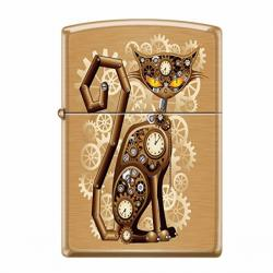 ¡ Encendedor Zippo Stamped Steampunk Cat Machinery Negro !!