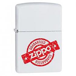 ¡ Zippo Stamp Garantía Guaranteed 29547 - Blanco Rojo !!