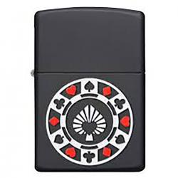 ¡ Zippo Stamp Poker Chain Ficha Casino 29543 - Negro !!
