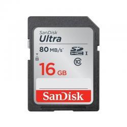 Tarjeta Sdhc 16gb Sandisk Ultra, Uhs-i, Clase 10, 80mb/s