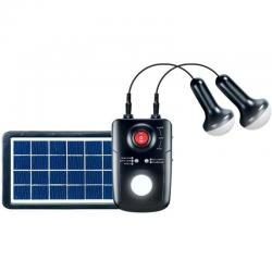 Kit Iluminación Solar: 2 Lámparas Led, Panel Solar, Batería