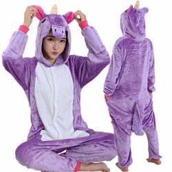 Pijama Mameluco De Unicornio Cosplay Color Morado H8086