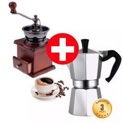 Moledor Molinillo De Cafe Manual + Cafetera Espresso Moka