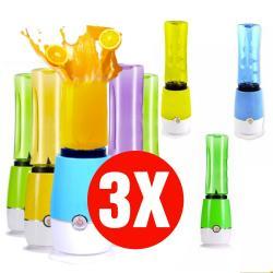 Pack 3 Batidora Licuadora Juguera Personal Portatil 2 Vasos