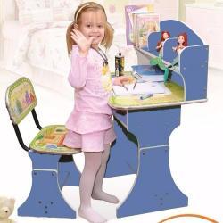 Set Infantil Escritorio Y Silla Color Azul Didactico Oferta