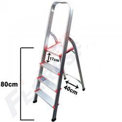 Escalera Aluminio Prima 4 Escalones Antideslizante Familiar