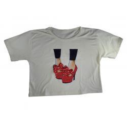 Bluson Camiseta Algodón 100% Talla Única Apliques Piedreria