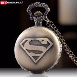 Superman Reloj De Bolsillo O Para Colgar Al Cuello Ocre