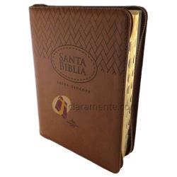 Biblia Flexible Café Con Índice Y Cierre Letra Gigante