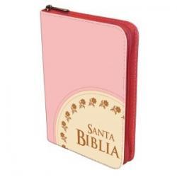 Biblia Manual Cosida Rosada Con Cierre