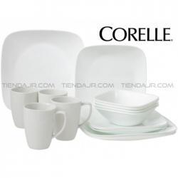 Vajilla Corelle Corel Square Cuadrada Blanca Pure White 16 Pcs