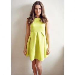 Nuevo Vestido Corto Plisado Verde Limon Talla M