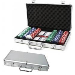 Set Lujo Maletin Poker Cartas Blackj Metalizado X 300 Fichas