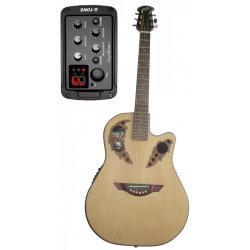 Guitarra Electroacustica Afinador Tapa Fibra Cuerdas Acero