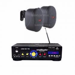 Amplificador Sonido Ambiental 2 Bafles Ambientales Bocinas