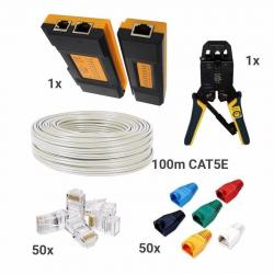 Kit 6-1 150m Cable Cat5 Pinzas Tester 50 Botas 50 Plugs Rj45