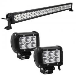 Kit 2 Faros Led 18w + Barra Led 180w Jeeps Moto 4x4 Off Road