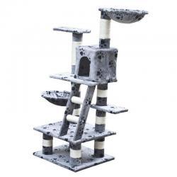 Cat Tree 122 Pet Scratcher Post Poles House Gym Condo Furniture Scratching Grey
