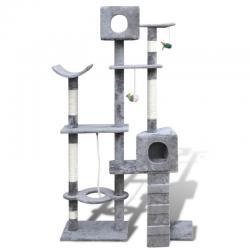 Cat Tree 175 Grey Pet Scratcher Post Condo Poles House Gym Furniture Scratching