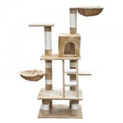 Cat Tree 122 Beige Pet Scratcher Post Poles Scratching House Gym Condo Furniture