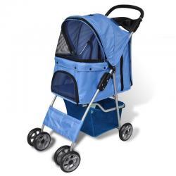 Pet Stoller Cat Carrier Dog Trolley Wheel Trailer Travel Transport Blue Folding