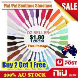 New Shoelaces Color/Fluro Flat Fat Round Bootlace Sneaker 120cm Buy 2 Get 1 Free