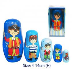 NEW Fun Factory Wooden PIRATE Nesting Russian Dolls