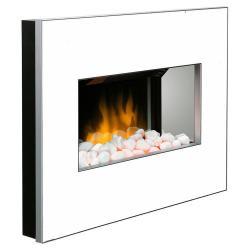 Dimplex Clova White Electric Fireplace Panel Heater/Flame Optiflame Pebble Stone