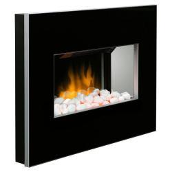 Dimplex Clova Black Electric Fireplace Panel Heater/Flame Optiflame Pebble Stone