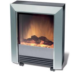 Dimplex Lee Silver Electric Fireplace Heater Heat/Flame Smoke Coal Wood Effect