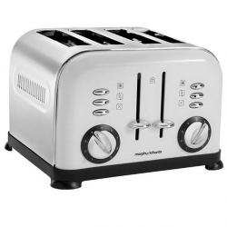 Morphy Richards 44037 Accents White & Polished Stainless steel 4 Slice Toaster
