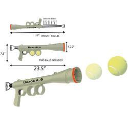 Dog Tennis Ball Gun Launcher w/2 Squeaky Balls Pet Play/Fetch/Throw Outdoor Toy