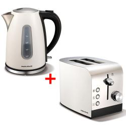Morphy Richards 102602 222051 White Accents 2 Slice Toaster/1.5L Kettle - Pack