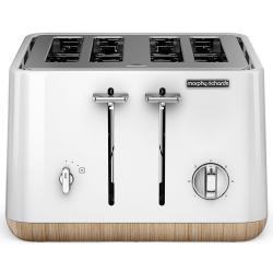 Morphy Richards 240005 Scandi White Aspect 4 Slice Toaster w/ Wooden Trim/Tray