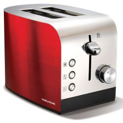 Morphy Richards 44206 Accents 2 Slice Toaster w/ Removable Tray Chrome/Red