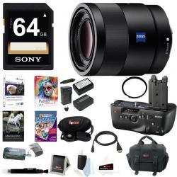 Sony 55mm F1.8 Sonnar T* FE ZA Lens w/ VGC77AM Vertical Grip Bundle
