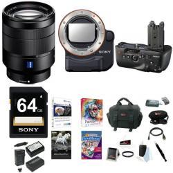 Sony 24-70mm f/4 Zoom Lens, VGC77AM Battery Grip, LAEA4 Mount Adapter Bundle