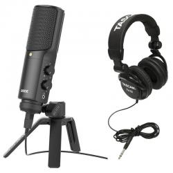 Rode NT-USB USB Condenser Microphone with Full-Size Headphones (Black)