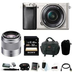 If you are looking Sony Alpha a6000 24.3 MP Camera with 50mm Lens and Sony 32GB SDHC (Silver) you can buy to focuscamera, It is on sale at the best price