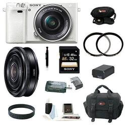 If you are looking Sony Alpha a6000 w/ 16-50mm Lens (White) & Sony 20mm Lens (Silver) + 32GB Kit you can buy to focuscamera, It is on sale at the best price