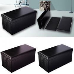 Folding Cuboid Faux Leather Ottoman Pouffe Storage Box Lounge Seat Footstools