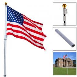 16Ft Telescoping Flagpole w/ 1 US America Flag Kit Outdoor Gold Ball Aluminum