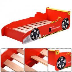 Kids Race Car Bed Toddler Bed Boys Child Furniture Bedroom Red Wooden New